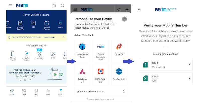 upi pin create by paytm