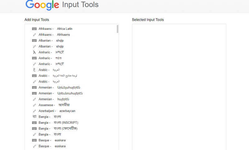 google input tools extension options select language