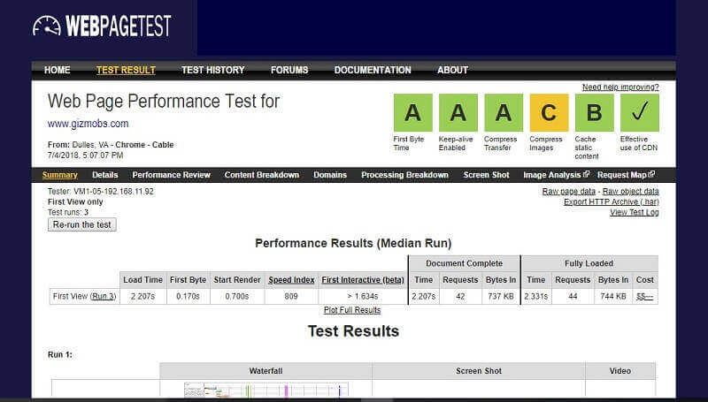 webpagetest result