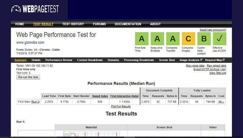 webpagetest result