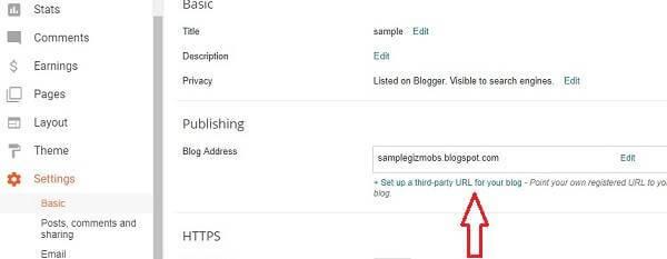 blogger setting setup custom domain