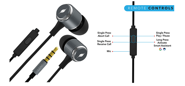 leaf metal wired earphone