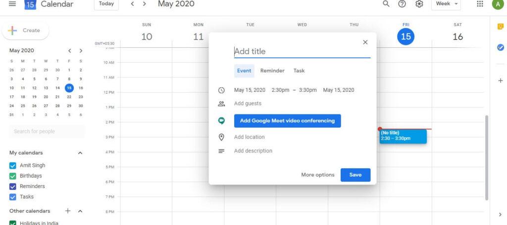 google meet create a meeting schedule using google calander from web browser